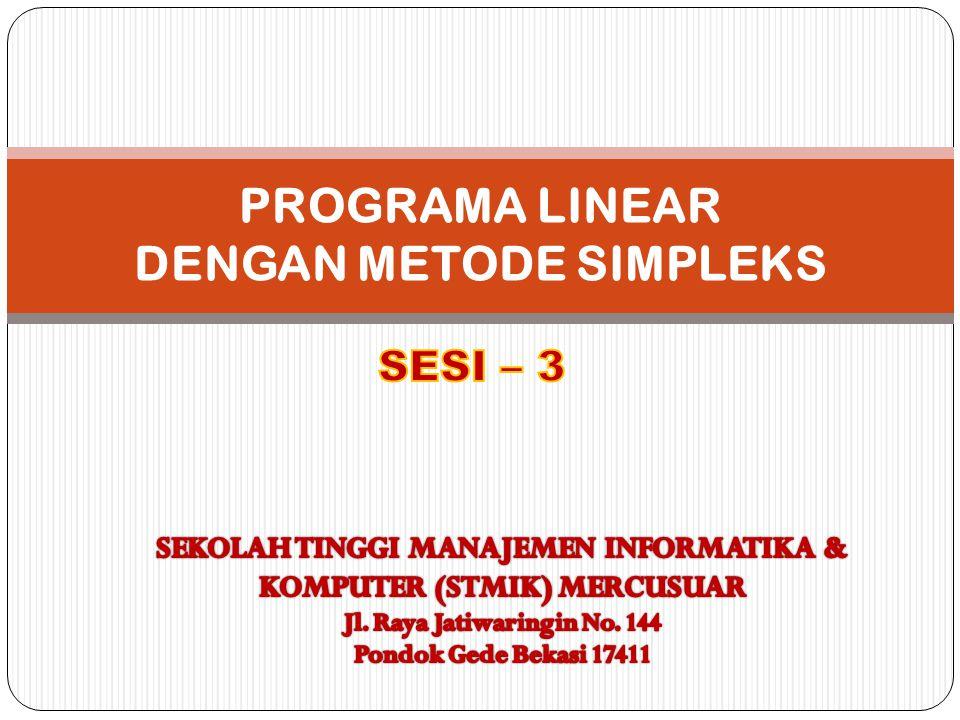 LANGKAH-LANGKAH METODE SIMPLEKS 1.