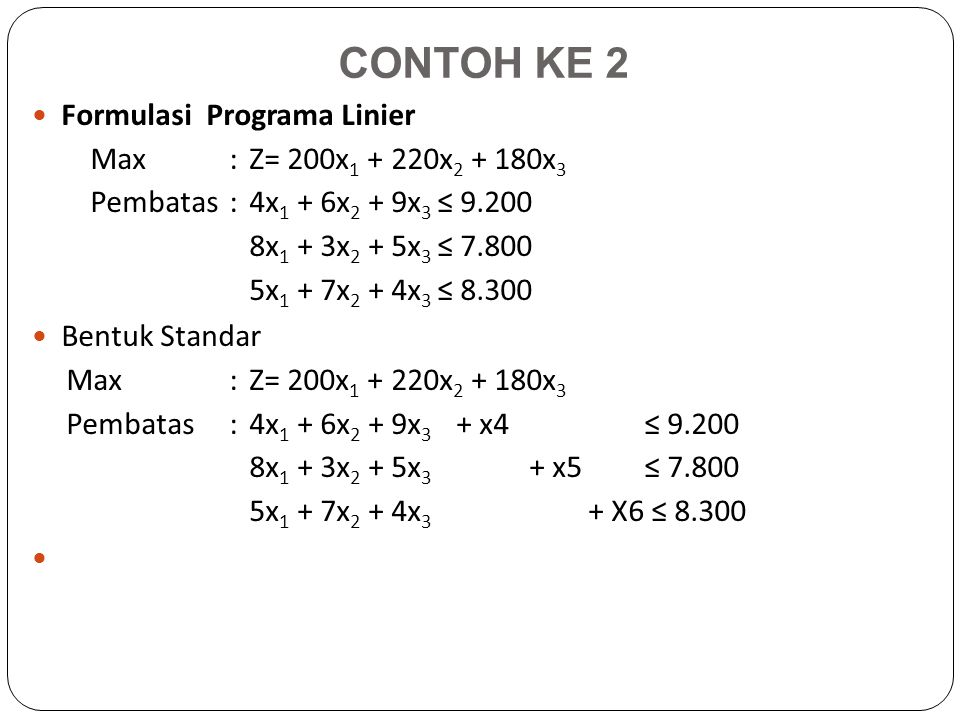 CONTOH KE 2 Formulasi Programa Linier Max :Z= 200x 1 + 220x 2 + 180x 3 Pembatas: 4x 1 + 6x 2 + 9x 3 ≤ 9.200 8x 1 + 3x 2 + 5x 3 ≤ 7.800 5x 1 + 7x 2 + 4