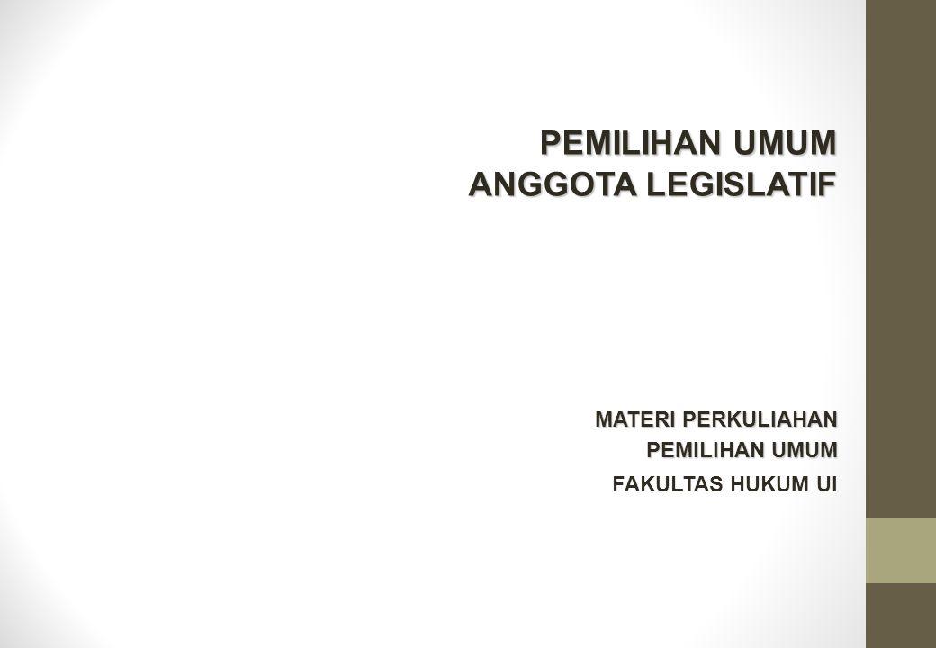 Asas Pemilu UU 12/2003 Pemilu dilaksanakan berdasarkan asas langsung, umum, bebas, rahasia, jujur, dan adil.