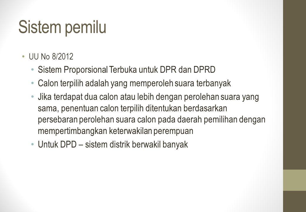 Sistem pemilu UU No 8/2012 Sistem Proporsional Terbuka untuk DPR dan DPRD Calon terpilih adalah yang memperoleh suara terbanyak Jika terdapat dua calo