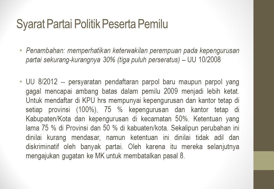Syarat Partai Politik Peserta Pemilu Penambahan: memperhatikan keterwakilan perempuan pada kepengurusan partai sekurang-kurangnya 30% (tiga puluh pers