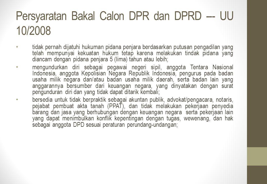 Persyaratan Bakal Calon DPR dan DPRD --- UU 10/2008 tidak pernah dijatuhi hukuman pidana penjara berdasarkan putusan pengadilan yang telah mempunyai k