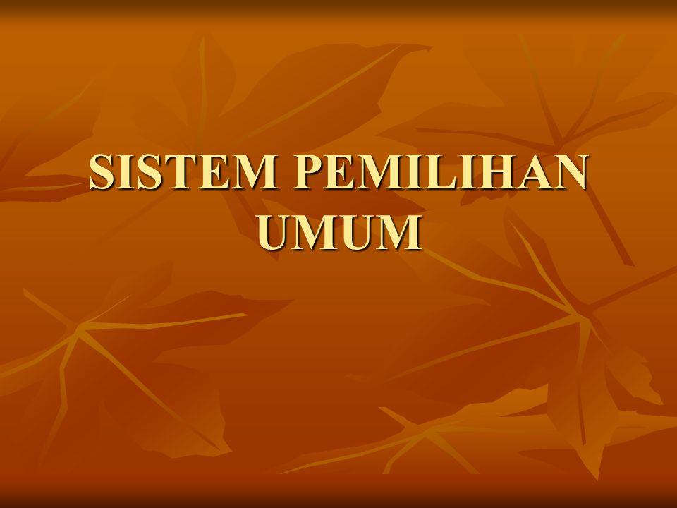 Sistem pemilihan umum dapat dibedakan menjadi dua macam: pemilihan mekanis dan pemilihan organis Dalam sistem mekanis, partai politik mengorganisir pemilihan-pemilihan dan partai partai politik berkembang, baik menurut sistem satu partai, dua partai atau multi partai.