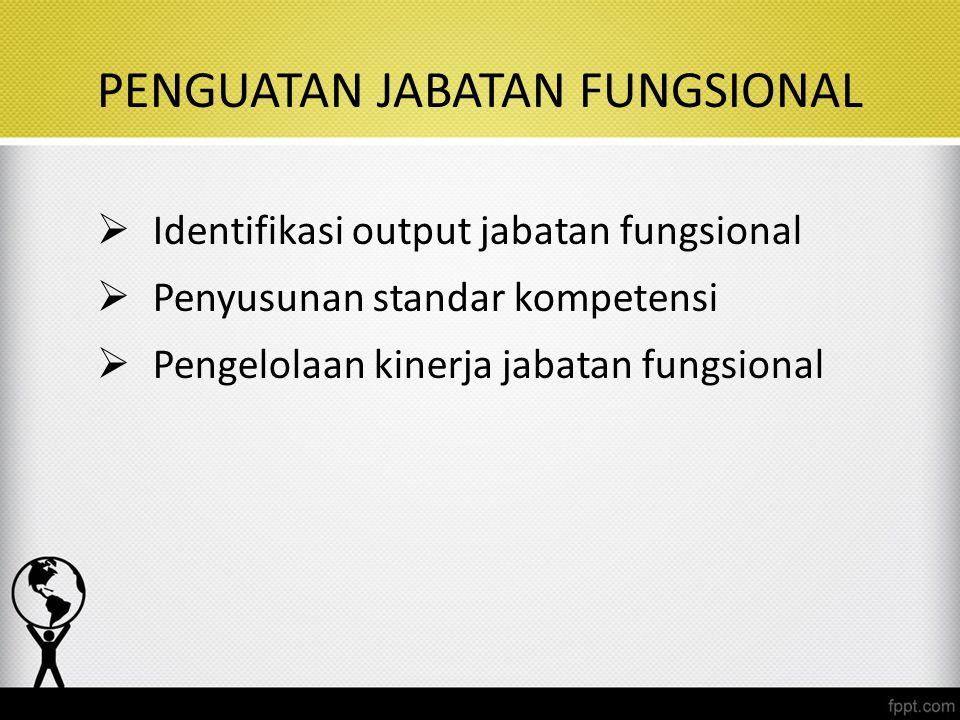 PENGUATAN JABATAN FUNGSIONAL  Identifikasi output jabatan fungsional  Penyusunan standar kompetensi  Pengelolaan kinerja jabatan fungsional