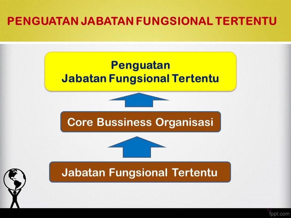 Core Bussiness Organisasi Penguatan Jabatan Fungsional Tertentu Penguatan Jabatan Fungsional Tertentu PENGUATAN JABATAN FUNGSIONAL TERTENTU 12 Jabatan