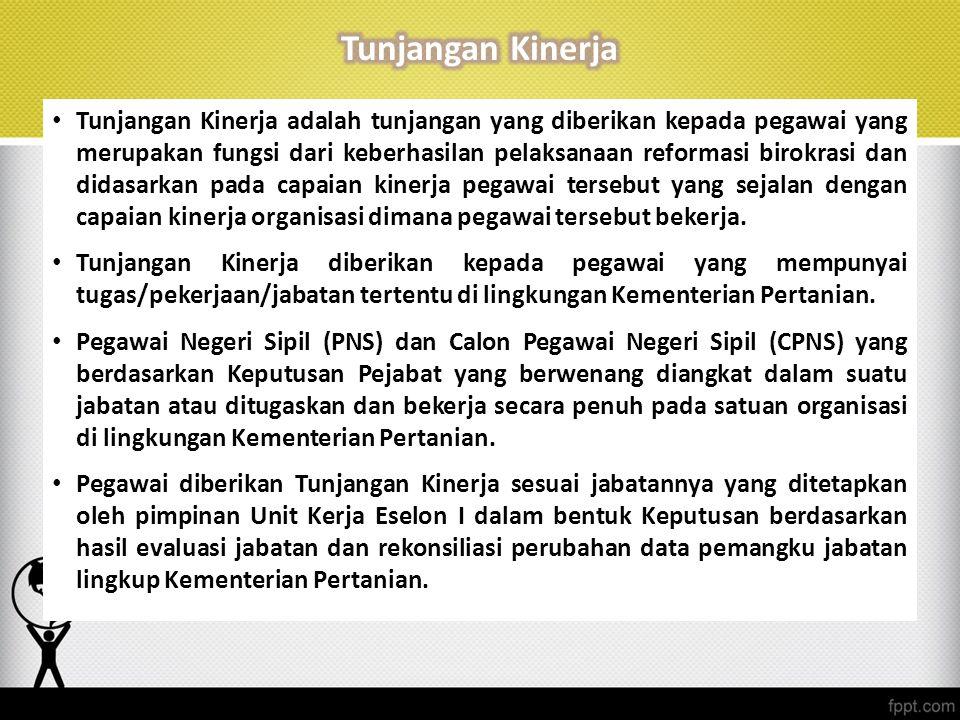 Tunjangan Kinerja adalah tunjangan yang diberikan kepada pegawai yang merupakan fungsi dari keberhasilan pelaksanaan reformasi birokrasi dan didasarka