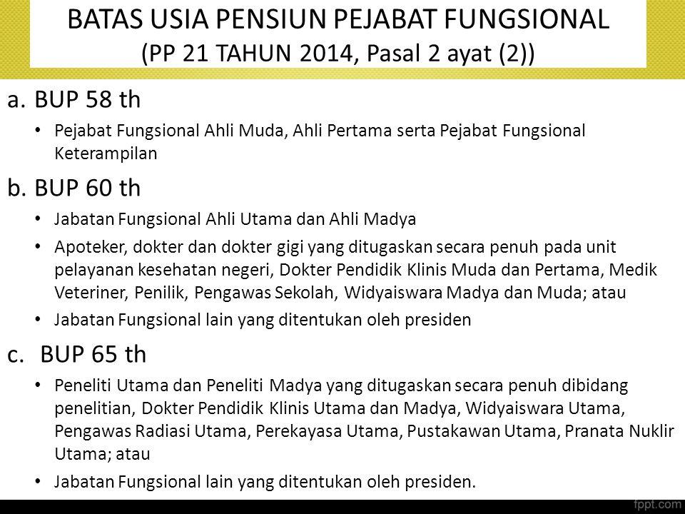 BATAS USIA PENSIUN PEJABAT FUNGSIONAL (PP 21 TAHUN 2014, Pasal 2 ayat (2)) a.BUP 58 th Pejabat Fungsional Ahli Muda, Ahli Pertama serta Pejabat Fungsi