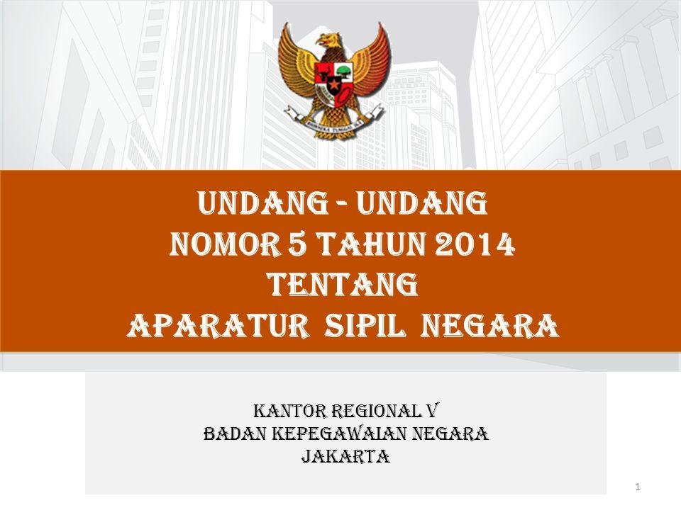 UNDANG - UNDANG NOMOR 5 TAHUN 2014 TENTANG APARATUR SIPIL NEGARA 1 KANTOR REGIONAL V BADAN KEPEGAWAIAN NEGARA JAKARTA