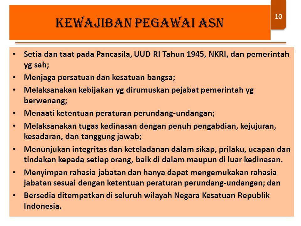10 Setia dan taat pada Pancasila, UUD RI Tahun 1945, NKRI, dan pemerintah yg sah; Menjaga persatuan dan kesatuan bangsa; Melaksanakan kebijakan yg dir
