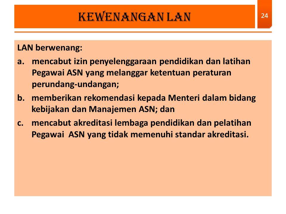 LAN berwenang: a.mencabut izin penyelenggaraan pendidikan dan latihan Pegawai ASN yang melanggar ketentuan peraturan perundang-undangan; b.memberikan
