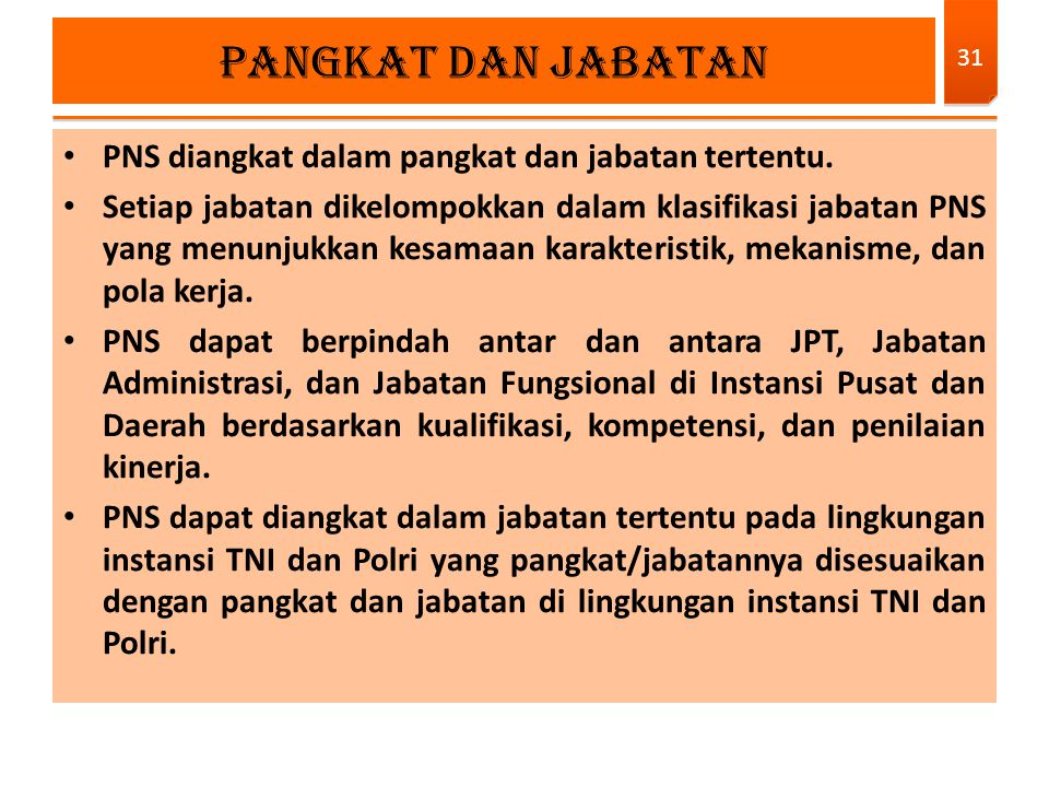PNS diangkat dalam pangkat dan jabatan tertentu. Setiap jabatan dikelompokkan dalam klasifikasi jabatan PNS yang menunjukkan kesamaan karakteristik, m