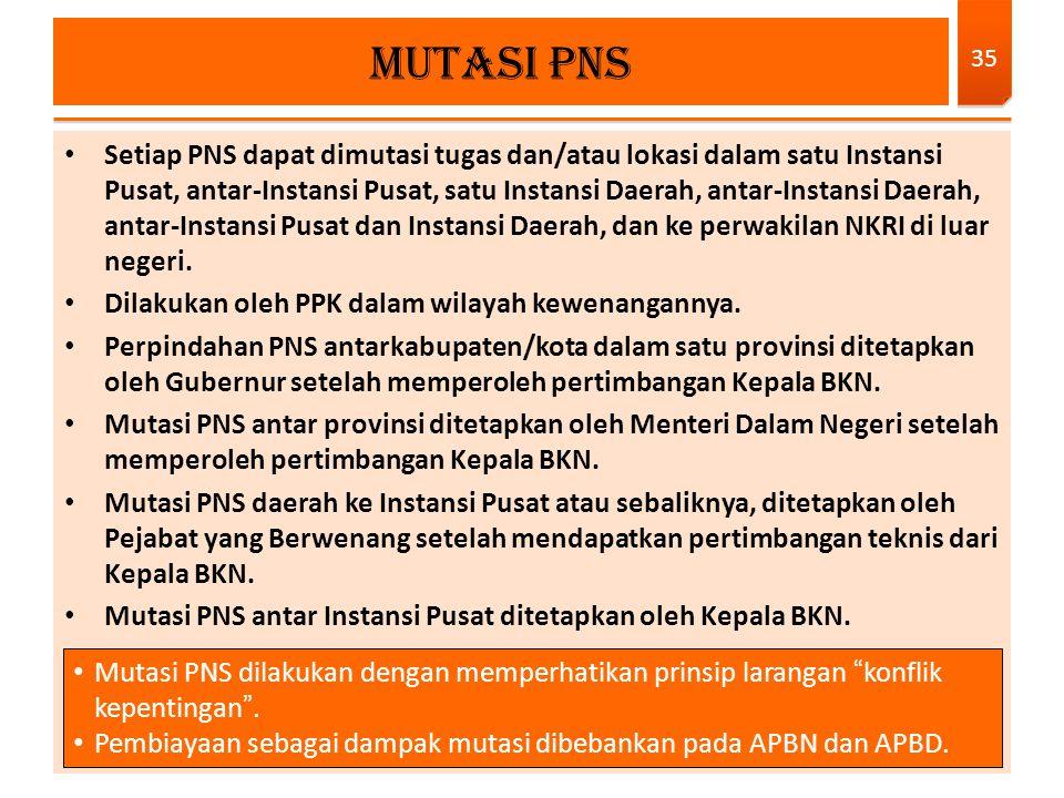Setiap PNS dapat dimutasi tugas dan/atau lokasi dalam satu Instansi Pusat, antar-Instansi Pusat, satu Instansi Daerah, antar-Instansi Daerah, antar-In
