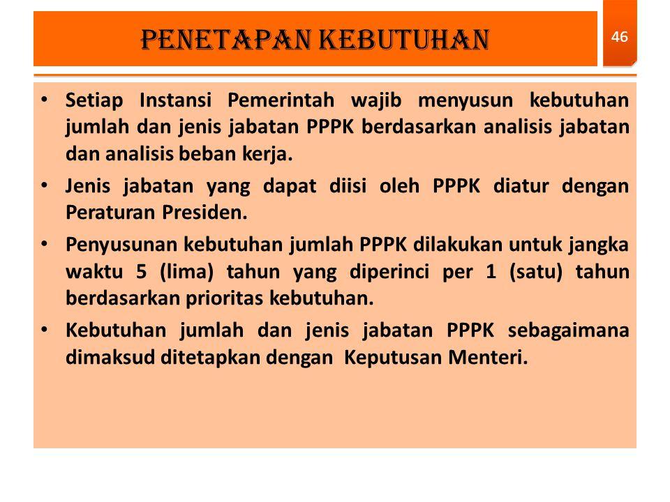 Setiap Instansi Pemerintah wajib menyusun kebutuhan jumlah dan jenis jabatan PPPK berdasarkan analisis jabatan dan analisis beban kerja. Jenis jabatan