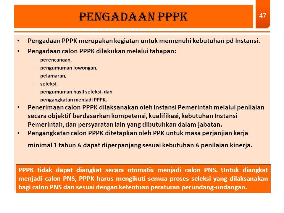 Pengadaan PPPK merupakan kegiatan untuk memenuhi kebutuhan pd Instansi. Pengadaan calon PPPK dilakukan melalui tahapan: – perencanaan, – pengumuman lo
