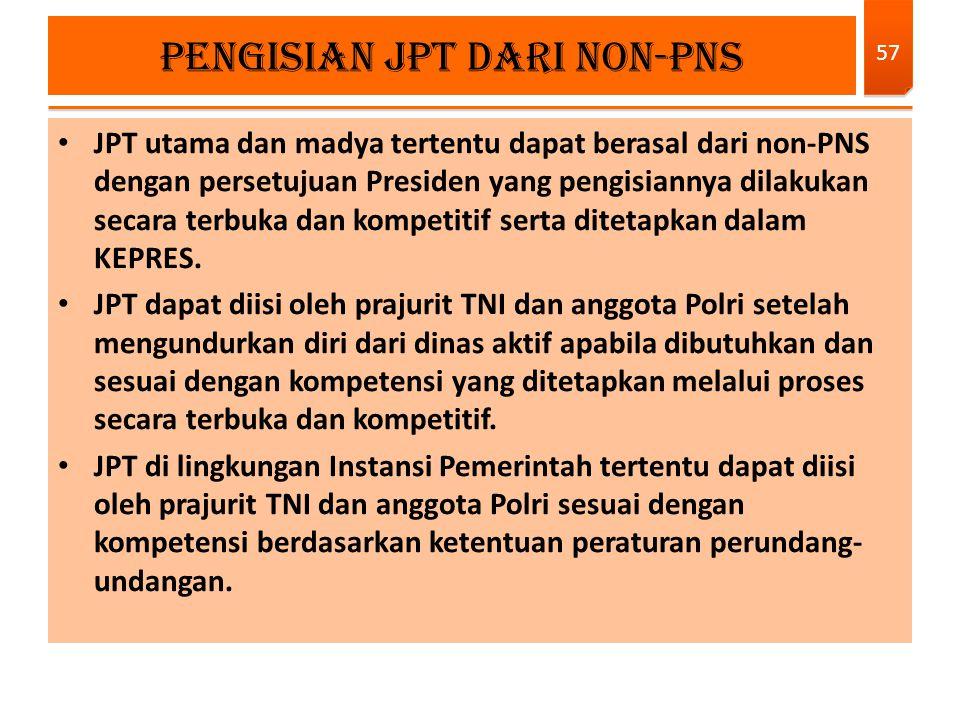 JPT utama dan madya tertentu dapat berasal dari non-PNS dengan persetujuan Presiden yang pengisiannya dilakukan secara terbuka dan kompetitif serta di