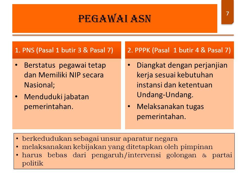 7 1. PNS (Pasal 1 butir 3 & Pasal 7) Berstatus pegawai tetap dan Memiliki NIP secara Nasional; Menduduki jabatan pemerintahan. 2. PPPK (Pasal 1 butir