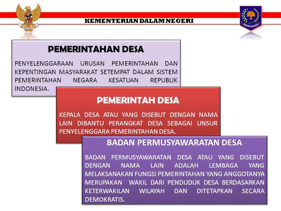 Lembaga Pemerintahan Desa/Desa Adat, terdiri: Pemerintah Desa/Desa Adat; Badan Pemusyawaratan Desa/Desa Adat; Lembaga Kemasyarakatan Desa; Lembaga Adat.