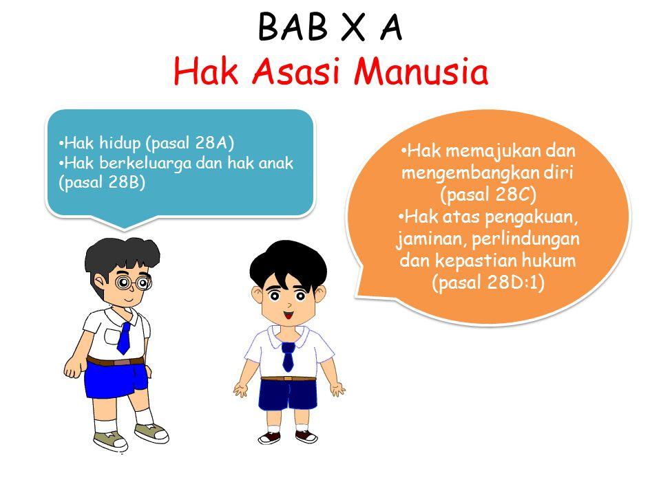 BAB X A Hak Asasi Manusia Hak hidup (pasal 28A) Hak berkeluarga dan hak anak (pasal 28B) Hak hidup (pasal 28A) Hak berkeluarga dan hak anak (pasal 28B