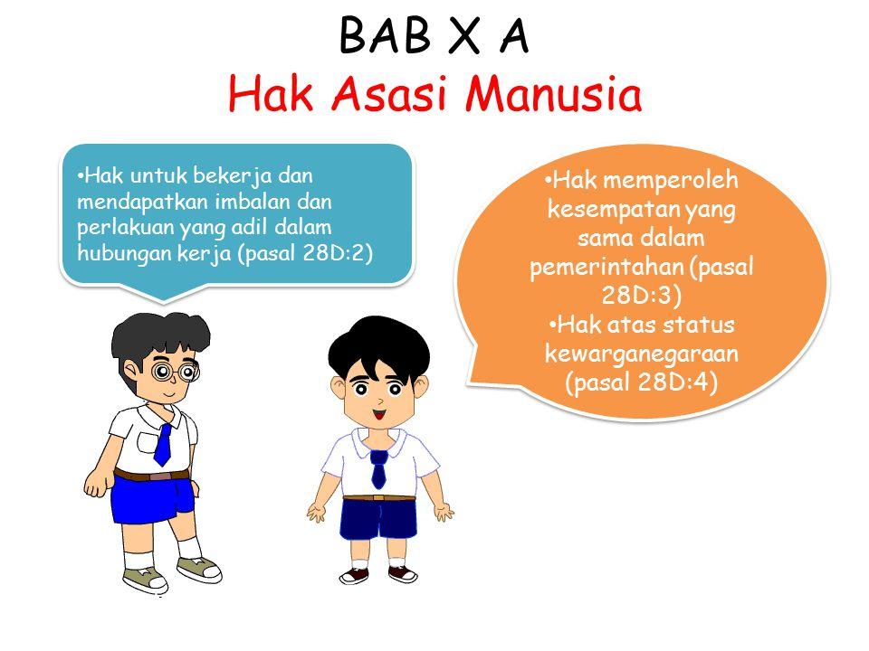 BAB X A Hak Asasi Manusia Hak untuk bekerja dan mendapatkan imbalan dan perlakuan yang adil dalam hubungan kerja (pasal 28D:2) Hak memperoleh kesempat