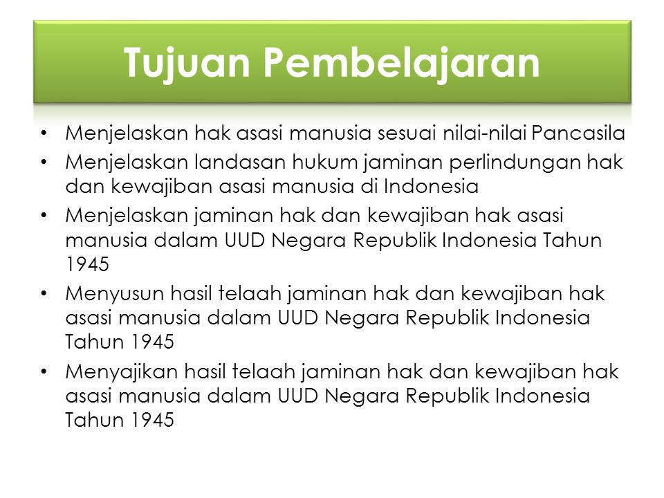 Menjelaskan hak asasi manusia sesuai nilai-nilai Pancasila Menjelaskan landasan hukum jaminan perlindungan hak dan kewajiban asasi manusia di Indonesi