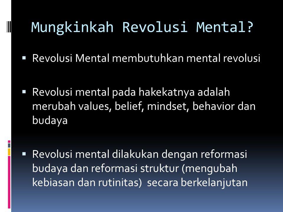 Mungkinkah Revolusi Mental?  Revolusi Mental membutuhkan mental revolusi  Revolusi mental pada hakekatnya adalah merubah values, belief, mindset, be