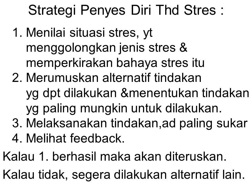 Strategi Penyes Diri Thd Stres : 1. Menilai situasi stres, yt menggolongkan jenis stres & memperkirakan bahaya stres itu 2. Merumuskan alternatif tind