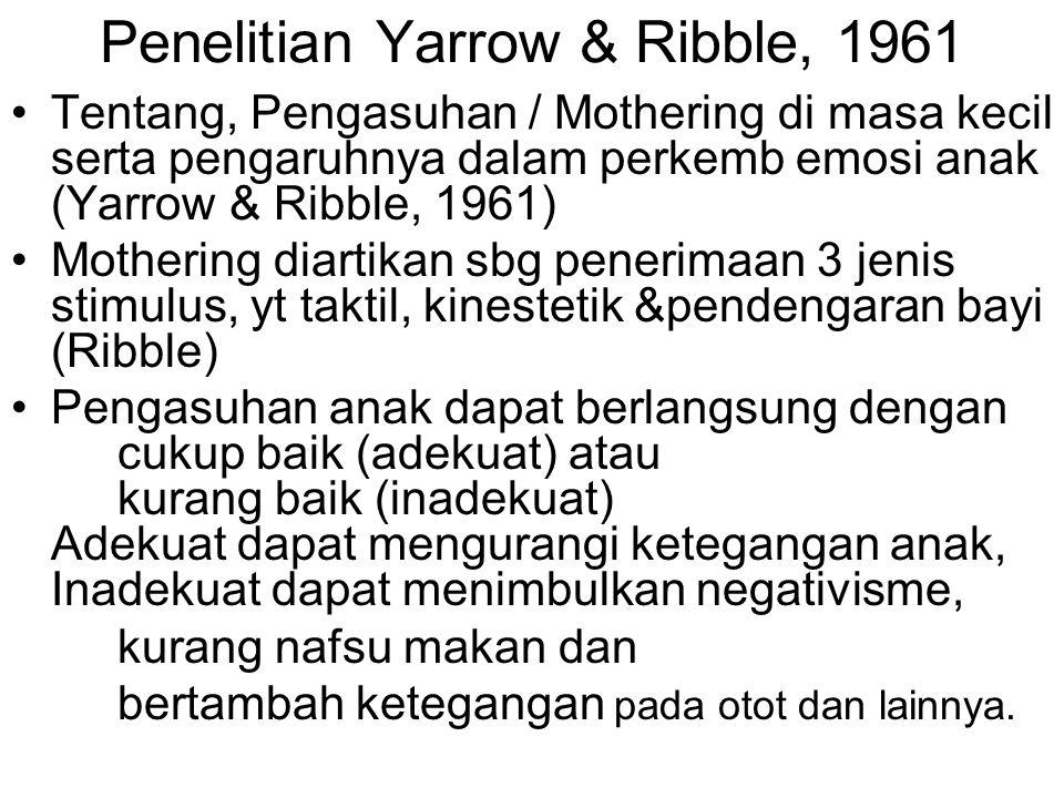 Penelitian Yarrow & Ribble, 1961 Tentang, Pengasuhan / Mothering di masa kecil serta pengaruhnya dalam perkemb emosi anak (Yarrow & Ribble, 1961) Moth