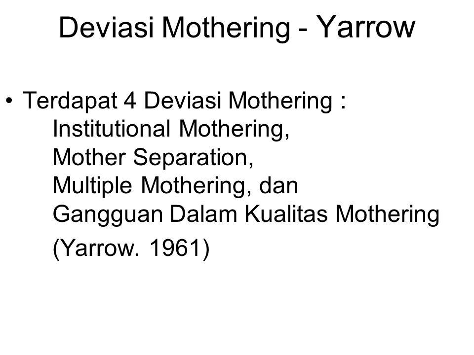 Deviasi Mothering - Yarrow Terdapat 4 Deviasi Mothering : Institutional Mothering, Mother Separation, Multiple Mothering, dan Gangguan Dalam Kualitas