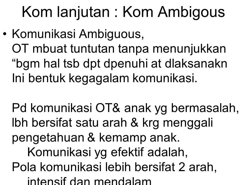 "Kom lanjutan : Kom Ambigous Komunikasi Ambiguous, OT mbuat tuntutan tanpa menunjukkan ""bgm hal tsb dpt dpenuhi at dlaksanakn Ini bentuk kegagalam komu"