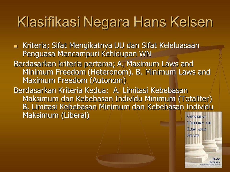 Klasifikasi Negara Hans Kelsen Kriteria; Sifat Mengikatnya UU dan Sifat Keleluasaan Penguasa Mencampuri Kehidupan WN Kriteria; Sifat Mengikatnya UU dan Sifat Keleluasaan Penguasa Mencampuri Kehidupan WN Berdasarkan kriteria pertama; A.