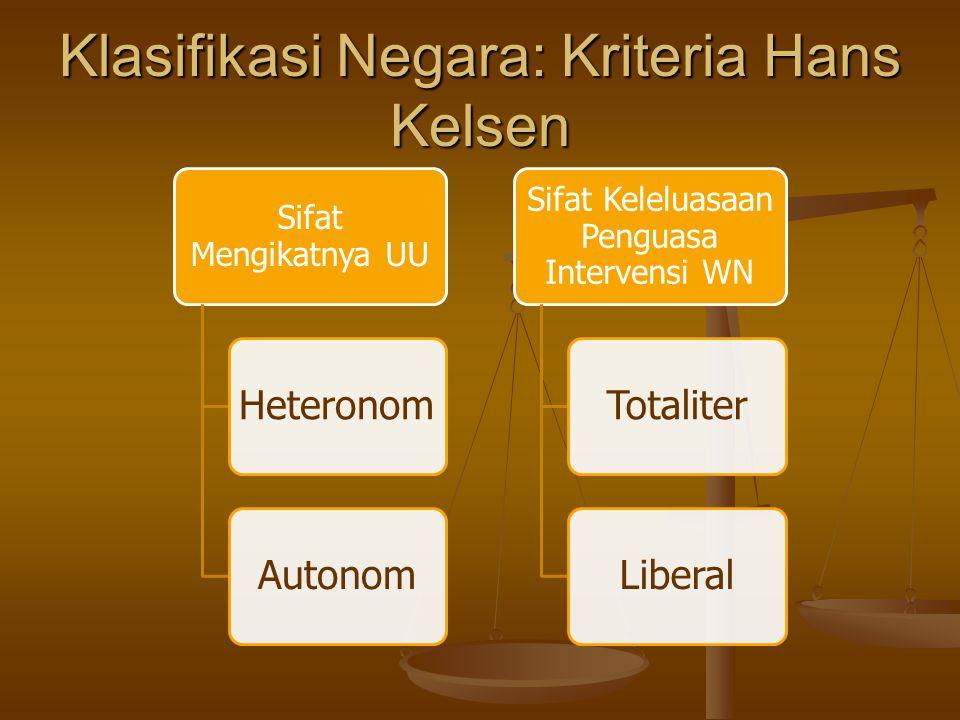 Klasifikasi Negara: Kriteria Hans Kelsen Sifat Mengikatnya UU HeteronomAutonom Sifat Keleluasaan Penguasa Intervensi WN TotaliterLiberal