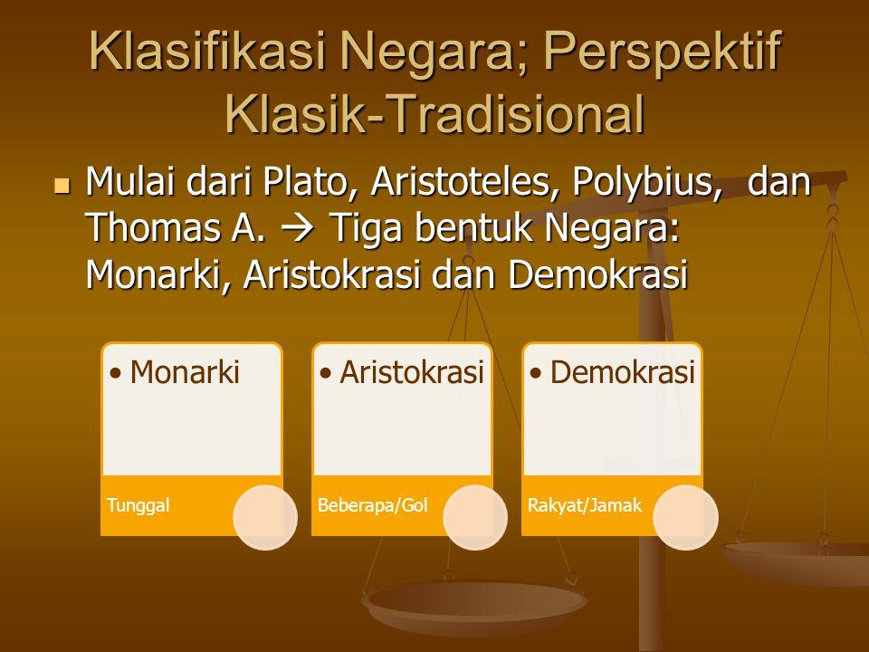 Klasifikasi Negara; Perspektif Klasik-Tradisional Mulai dari Plato, Aristoteles, Polybius, dan Thomas A.