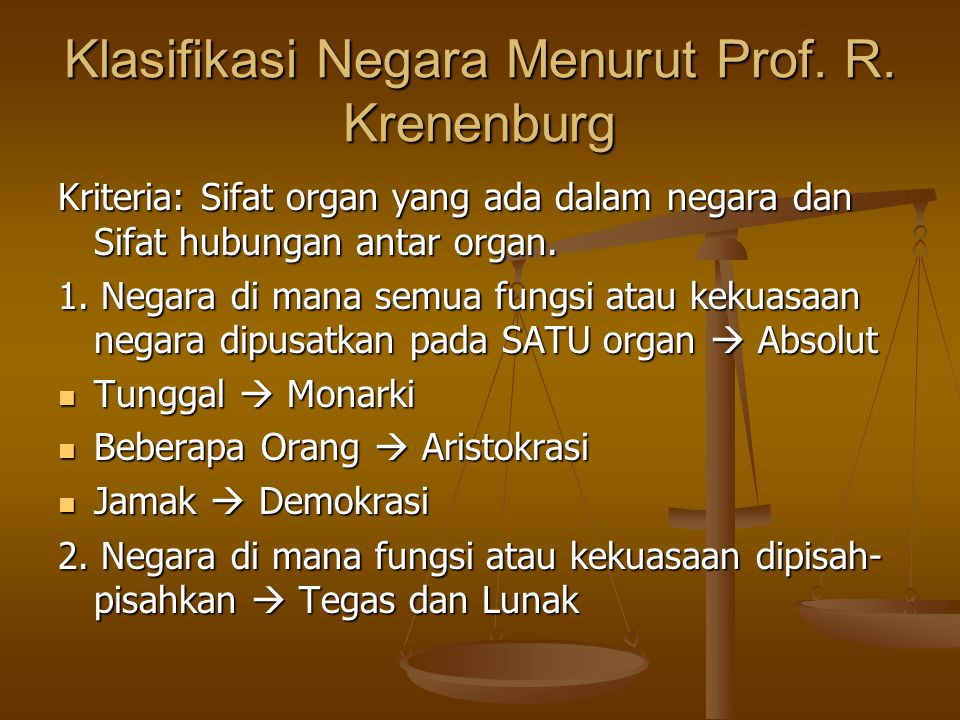 Krenenburg Kriteria = Perkembangan Sejarah Negara dalam bentuk Historis  Federasi Jaman Kuno, Sistem Provincia Romawi, Sistem Feodal.