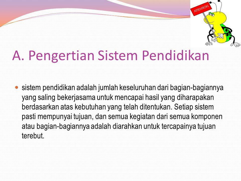 A. Pengertian Sistem Pendidikan sistem pendidikan adalah jumlah keseluruhan dari bagian-bagiannya yang saling bekerjasama untuk mencapai hasil yang di