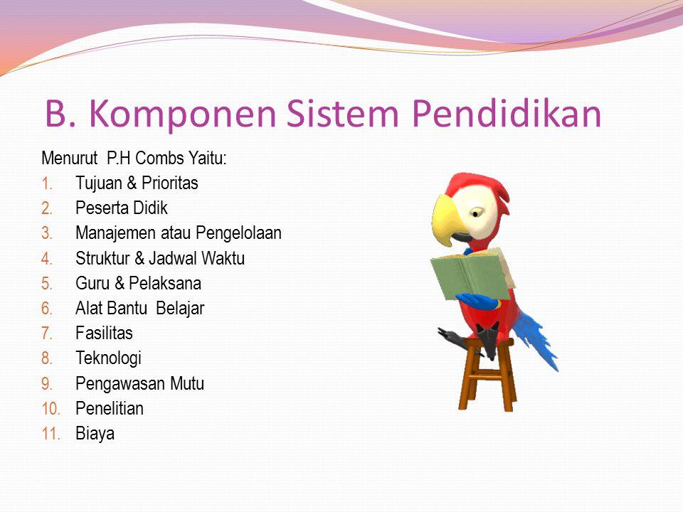 B. Komponen Sistem Pendidikan Menurut P.H Combs Yaitu: 1. Tujuan & Prioritas 2. Peserta Didik 3. Manajemen atau Pengelolaan 4. Struktur & Jadwal Waktu
