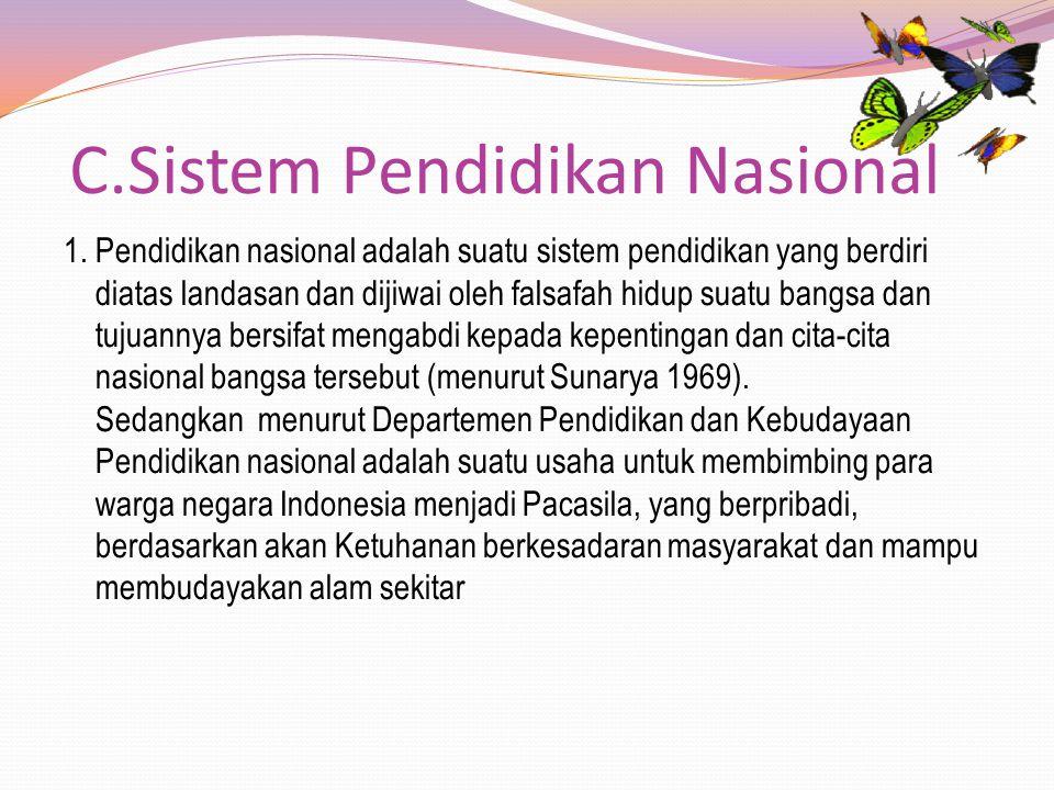 C.Sistem Pendidikan Nasional 1. Pendidikan nasional adalah suatu sistem pendidikan yang berdiri diatas landasan dan dijiwai oleh falsafah hidup suatu