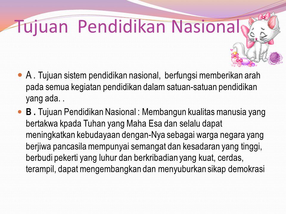 Tujuan Pendidikan Nasional A. Tujuan sistem pendidikan nasional, berfungsi memberikan arah pada semua kegiatan pendidikan dalam satuan-satuan pendidik