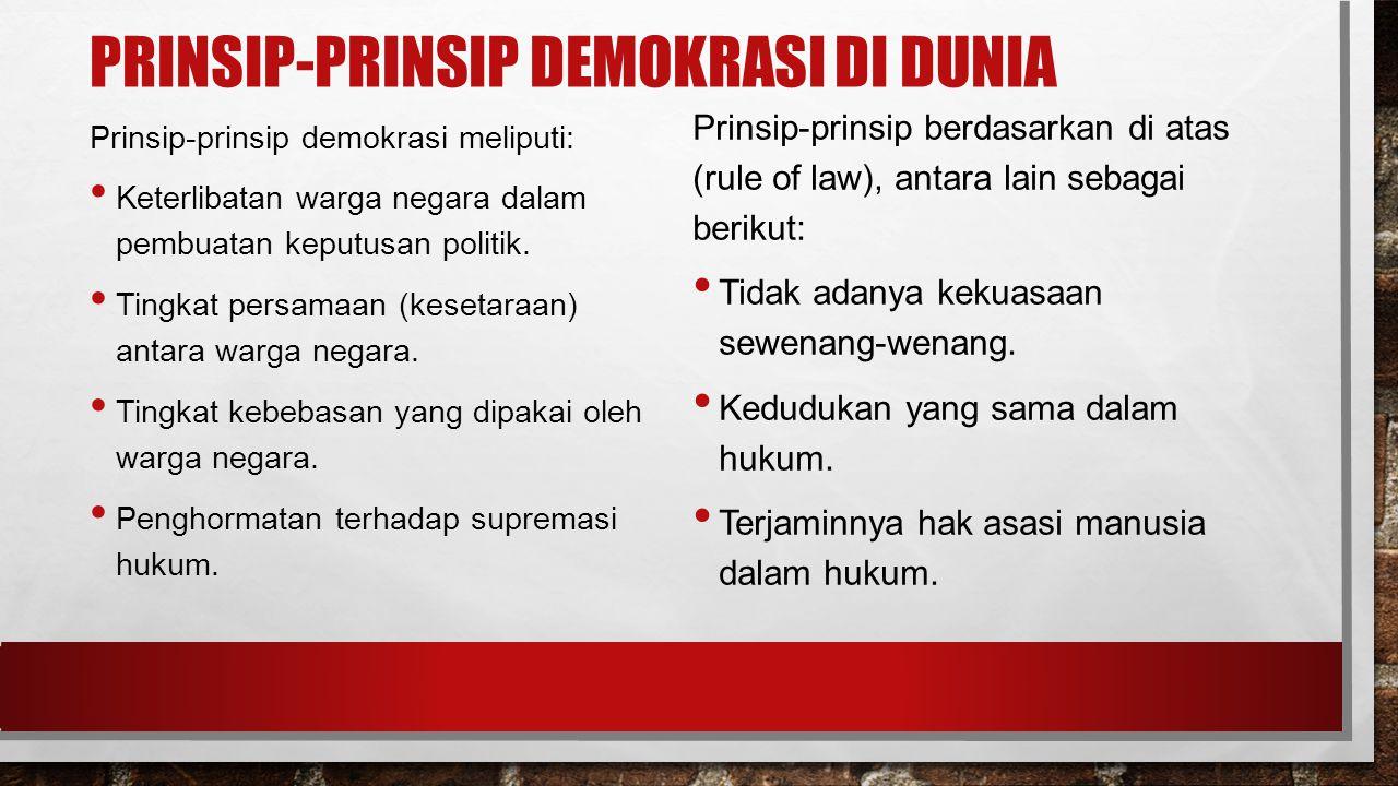 PRINSIP-PRINSIP DEMOKRASI DI DUNIA Prinsip-prinsip demokrasi meliputi: Keterlibatan warga negara dalam pembuatan keputusan politik.