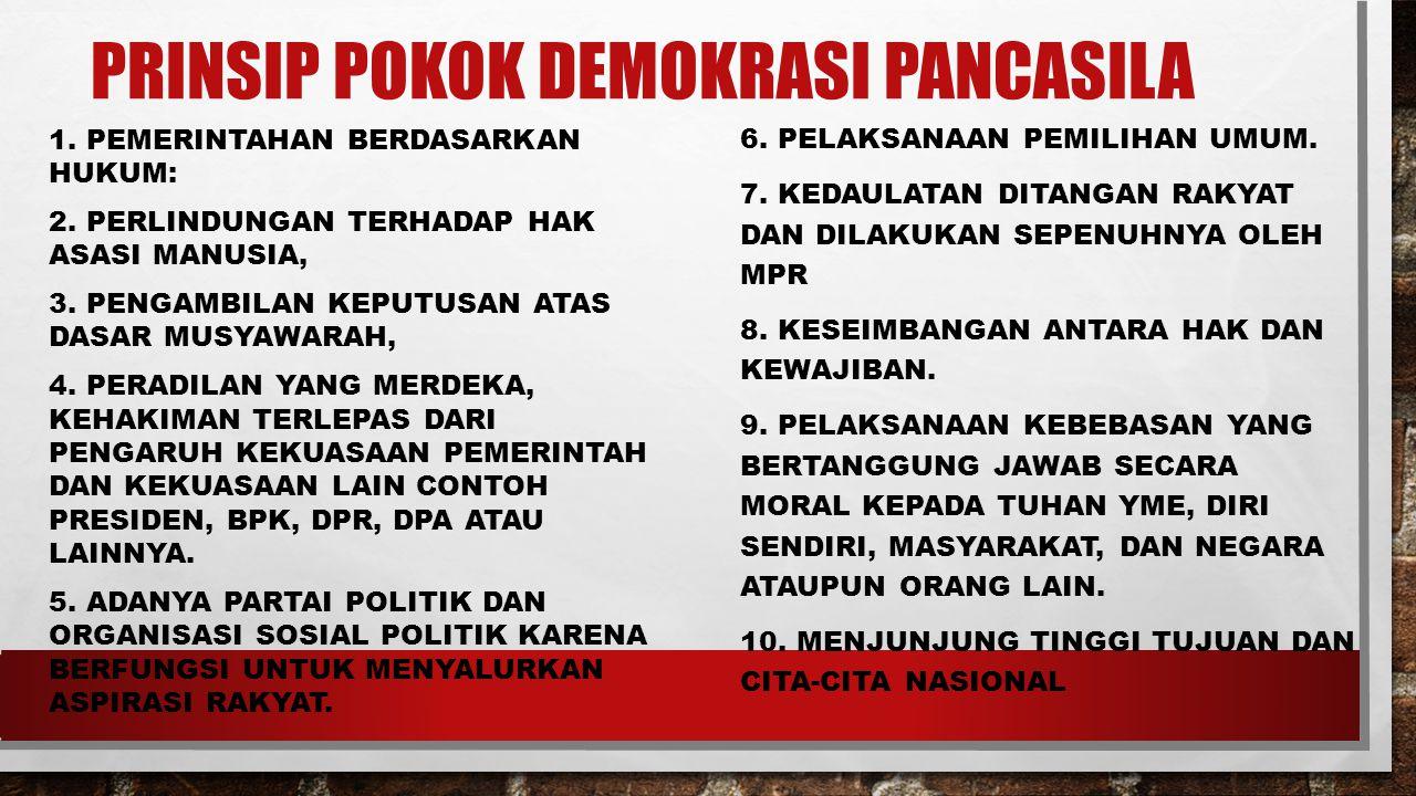 PRINSIP POKOK DEMOKRASI PANCASILA 1.PEMERINTAHAN BERDASARKAN HUKUM: 2.