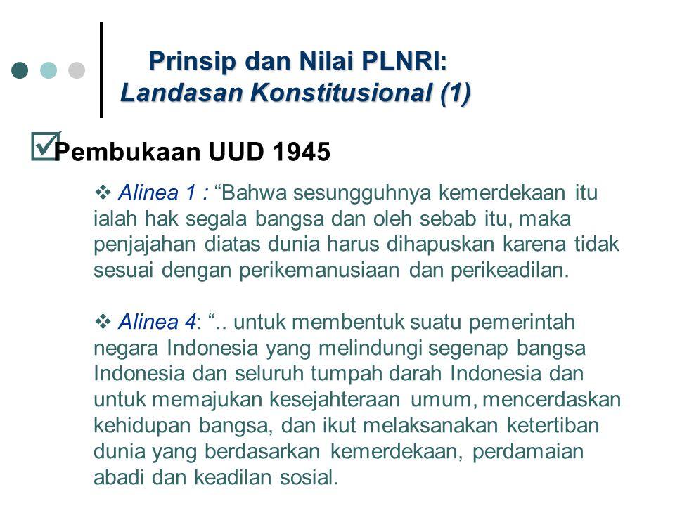 """Prinsip dan Nilai PLNRI: Landasan Konstitusional (1)  Pembukaan UUD 1945  Alinea 1 : """"Bahwa sesungguhnya kemerdekaan itu ialah hak segala bangsa dan"""