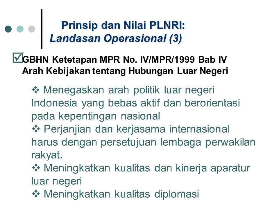 Prinsip dan Nilai PLNRI: Landasan Operasional (3)  GBHN Ketetapan MPR No. IV/MPR/1999 Bab IV Arah Kebijakan tentang Hubungan Luar Negeri  Menegaskan