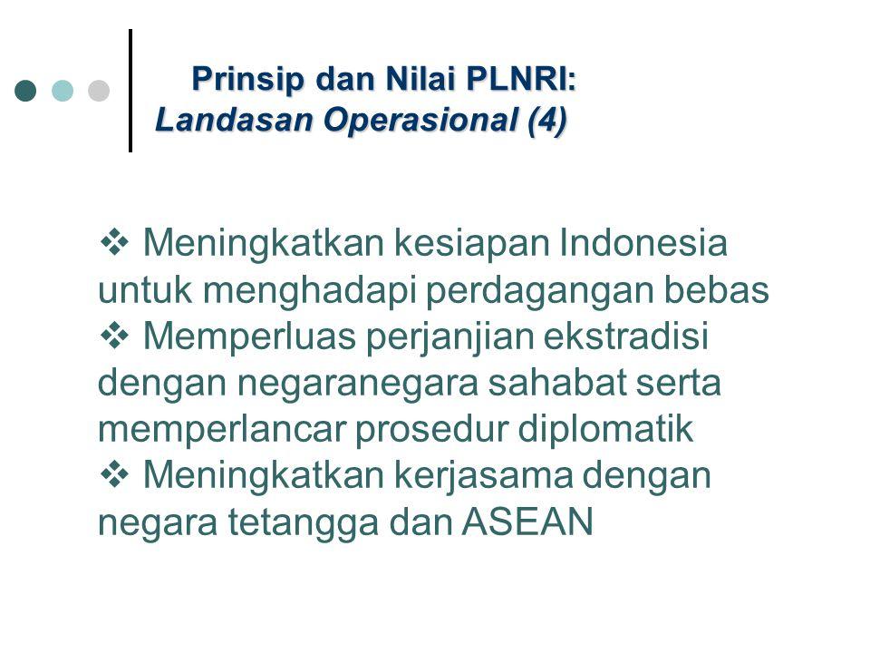 Prinsip dan Nilai PLNRI: Landasan Operasional (4)  Meningkatkan kesiapan Indonesia untuk menghadapi perdagangan bebas  Memperluas perjanjian ekstrad