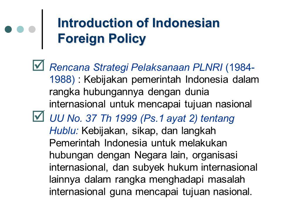 Introduction of Indonesian Foreign Policy  Rencana Strategi Pelaksanaan PLNRI (1984- 1988) : Kebijakan pemerintah Indonesia dalam rangka hubungannya dengan dunia internasional untuk mencapai tujuan nasional  UU No.