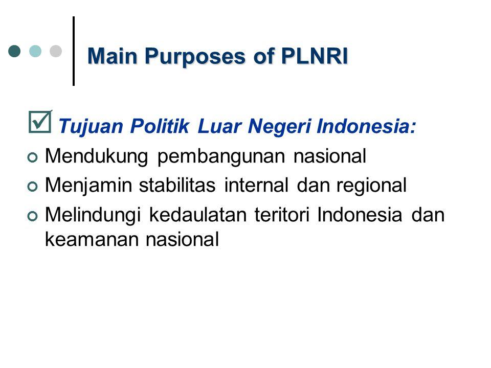 Main Purposes of PLNRI  Tujuan Politik Luar Negeri Indonesia: Mendukung pembangunan nasional Menjamin stabilitas internal dan regional Melindungi kedaulatan teritori Indonesia dan keamanan nasional