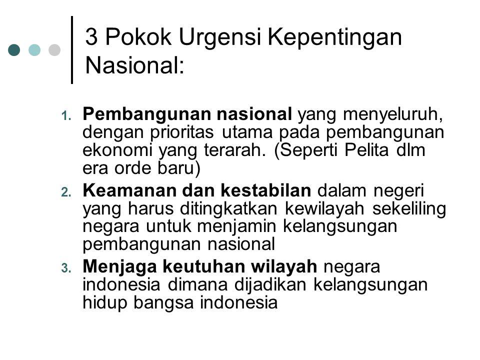 3 Pokok Urgensi Kepentingan Nasional: 1. Pembangunan nasional yang menyeluruh, dengan prioritas utama pada pembangunan ekonomi yang terarah. (Seperti