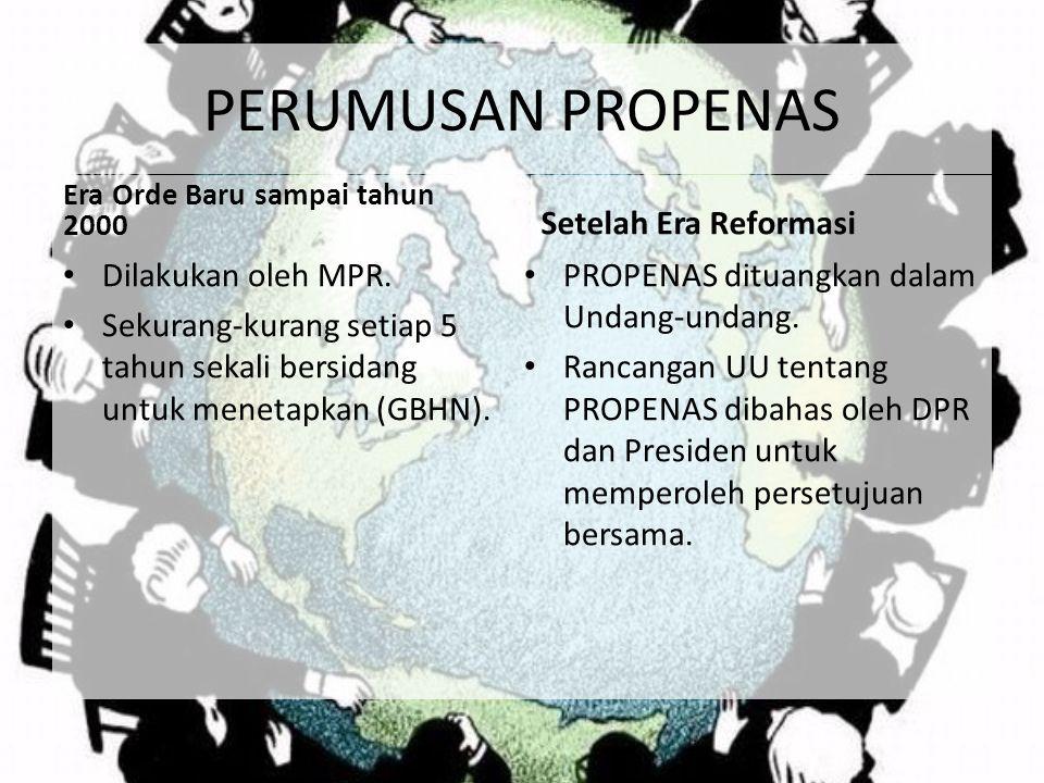 PERUMUSAN PROPENAS Era Orde Baru sampai tahun 2000 Dilakukan oleh MPR. Sekurang-kurang setiap 5 tahun sekali bersidang untuk menetapkan (GBHN). Setela