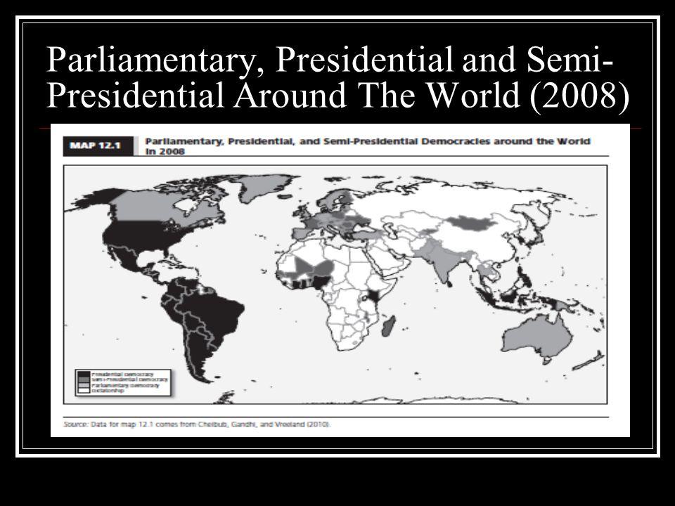 Parliamentary, Presidential and Semi- Presidential Around The World (2008)