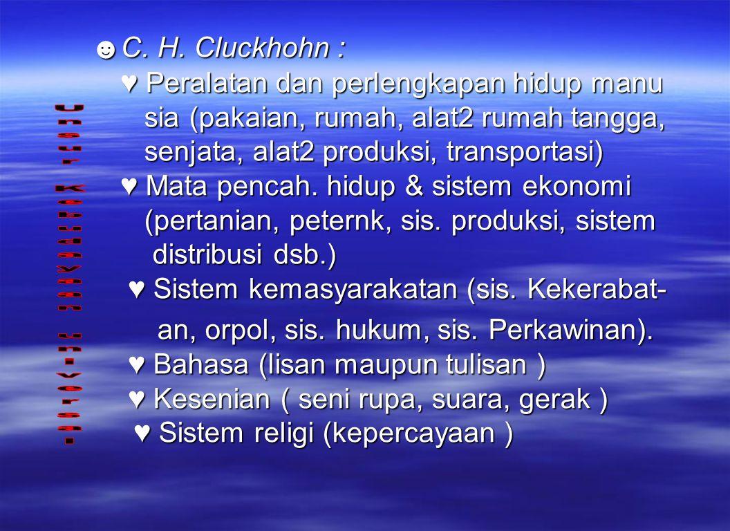 ☻C. H. Cluckhohn : ♥ Peralatan dan perlengkapan hidup manu sia (pakaian, rumah, alat2 rumah tangga, senjata, alat2 produksi, transportasi) ♥ Mata penc