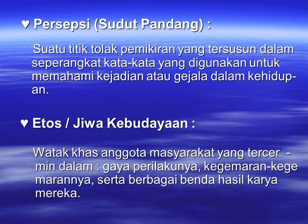 ♥ Persepsi (Sudut Pandang) : ♥ Persepsi (Sudut Pandang) : Suatu titik tolak pemikiran yang tersusun dalam seperangkat kata-kata yang digunakan untuk m