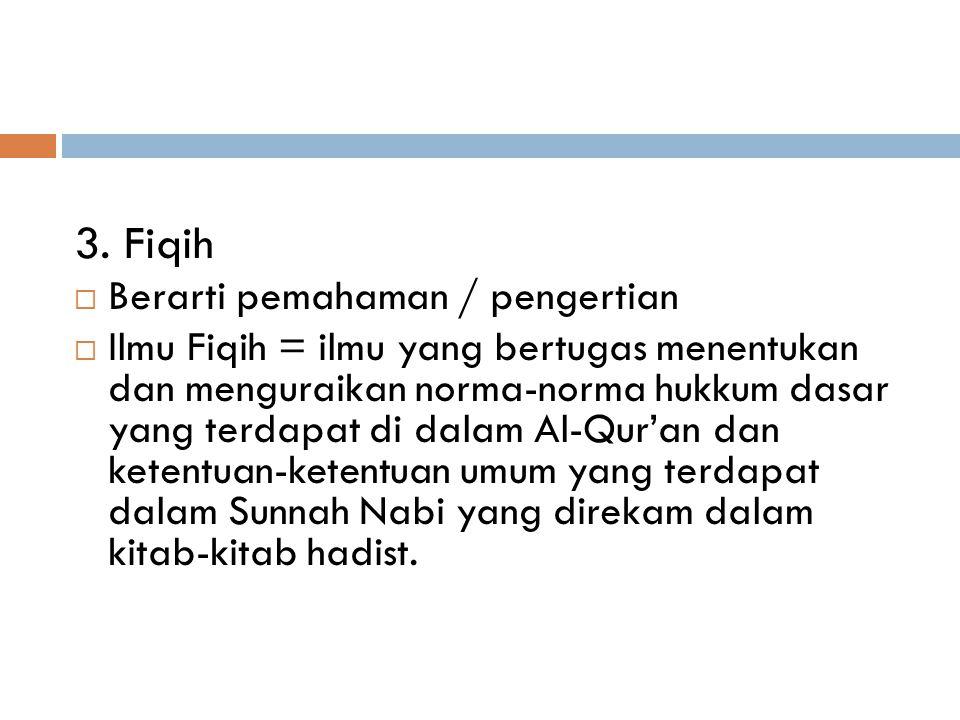 2. Syariat  Norma hukum dasar yang ditetapkan Allah, yang wajib diikuti orang islam berdasarkan iman yang berkaitan dengan akhlak, baik dalam hubunga